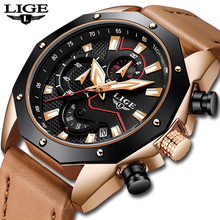 LIGE Fashion Mens Watches Top Brand Luxury Business Quartz Watch Men Leather Waterproof Sport Chronograph Male Relogio Masculino relogio masculino guanqin mens business watches top brand luxury chronograph leather sport quartz wrist watch men clock male