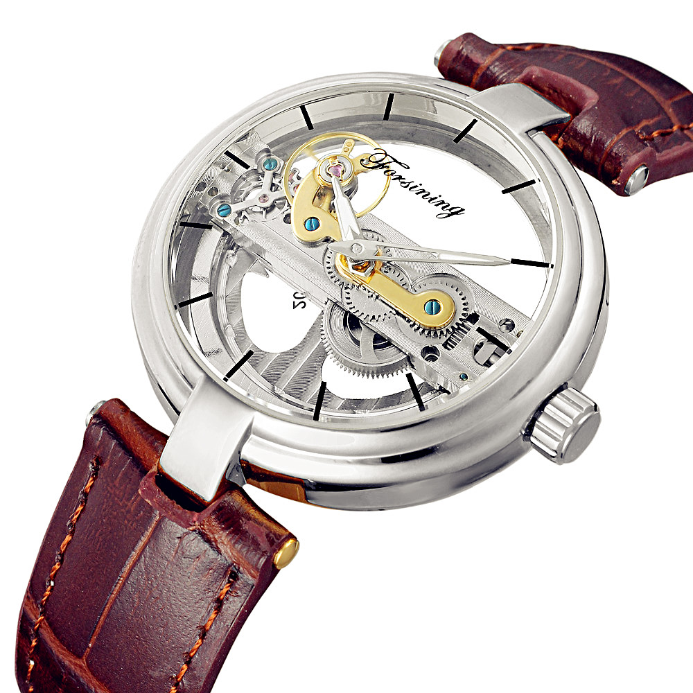 FORSINING Men Cool Unique Design Hollow Out Automatic Skeleton Watch Leather Transparan Mechanical Wrist Watch Relogio Masculino hollow out dial design automatic mechanical watch with metal band for men tevise 8377003