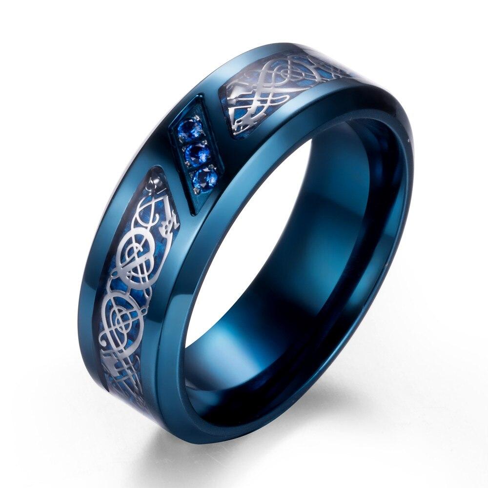 Verlobungsringe Titan Hochzeit Ring Band Mit Drachen Design Über Blau Carbon Fiber Inlay Und Blau Zirkonia