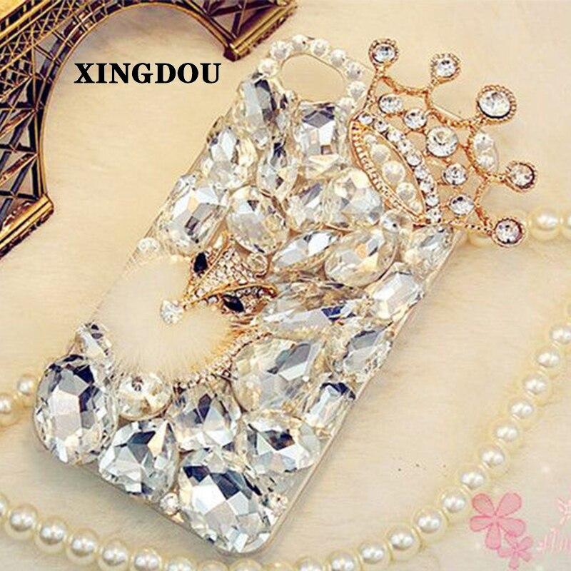 imágenes para Xingduo corona de cristal de diamante claro rhinestone volver case para iphone 7 6 6 s plus 5 5c samsung galaxy note 7 5S 5 4 s6 edge plus
