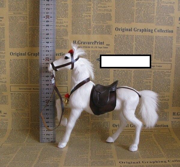 Cheval de simulation blanc modèle jouet polyéthylène selle cheval jouet décoration cadeau environ 23x7x23 cm