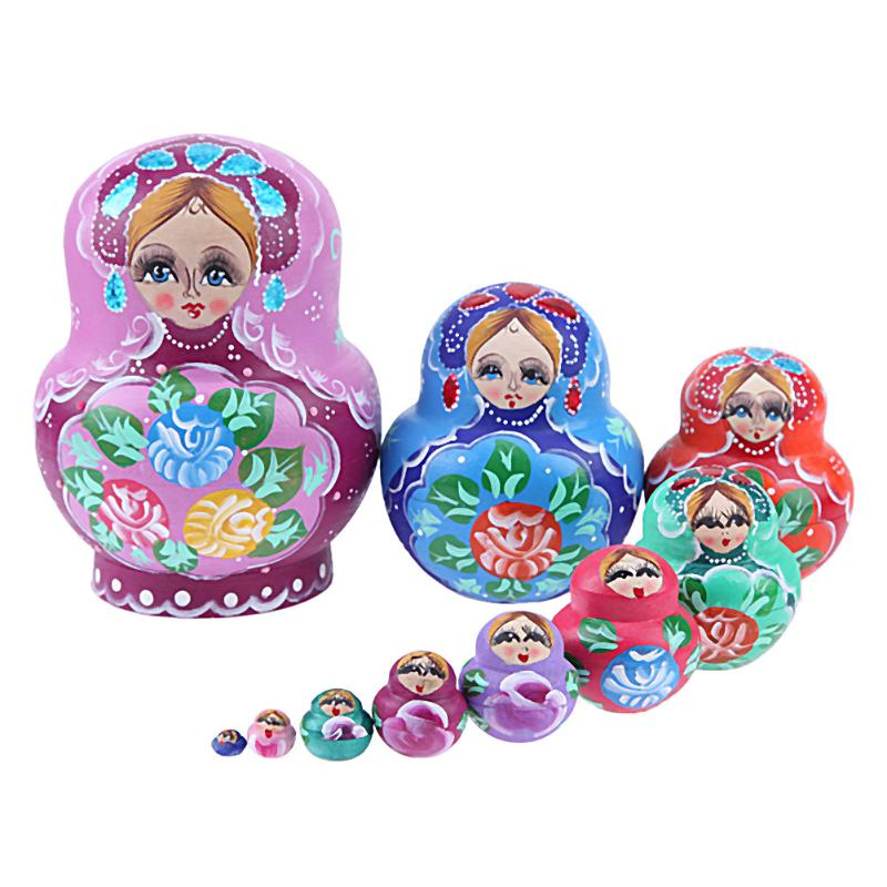 10pcs/Set Different Style Wooden Flower Nesting Dolls Handmade Wooden Russian Matryoshka Doll Toy Kids New Years Gift happy dollhouse family dolls small wooden toy set figures dressed characters children kids playing doll gift kids pretend toys