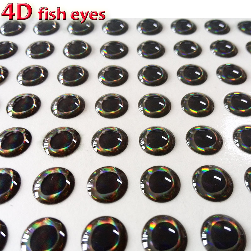 2017NEW 4D fish eyes fly fishing lure eye realistic holographic fly tying material size 3mm-12mm quantity:300pcs/lot 2016 new realistic life size 100