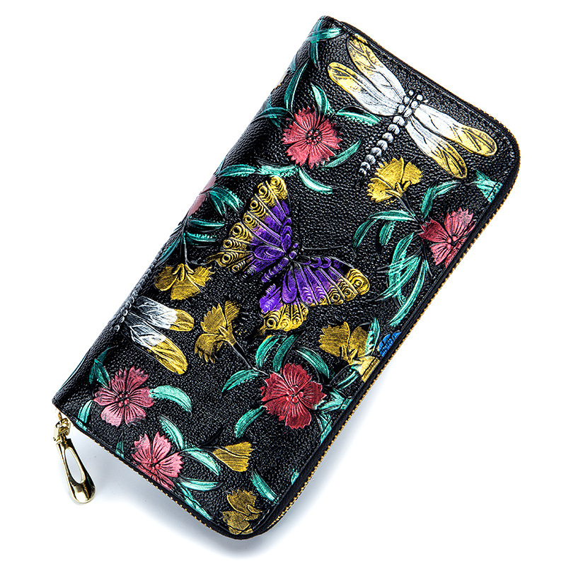 2018 RFid Female Wallet Genuine Leather Women Flowers Purses Butterfly Card Holder Coin Zipper Print Colorful Handy Bag Phone dot print round gasbag phone holder