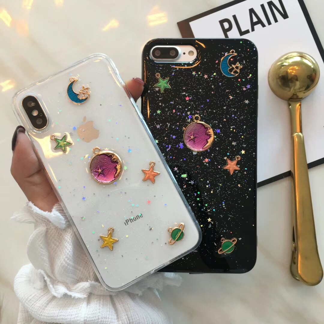 3D Moon stars Bling Glitter Phone Cases for iphone X XS