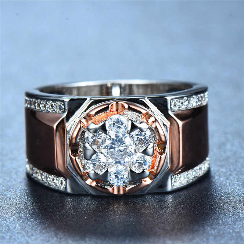Luxury Male Female Big Zircon Stone Ring Fashion 925 Silver/Rose Gold Wedding Jewelry Vintage Men Women Party Wedding Rings
