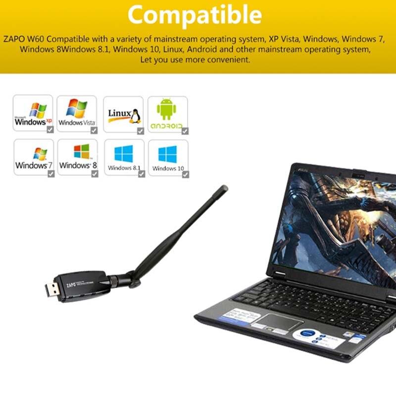ZAPO 2.4G WIFI USB 300Mbps Lan Adapter Bezprzewodowy odbiornik - Sprzęt sieciowy - Zdjęcie 2