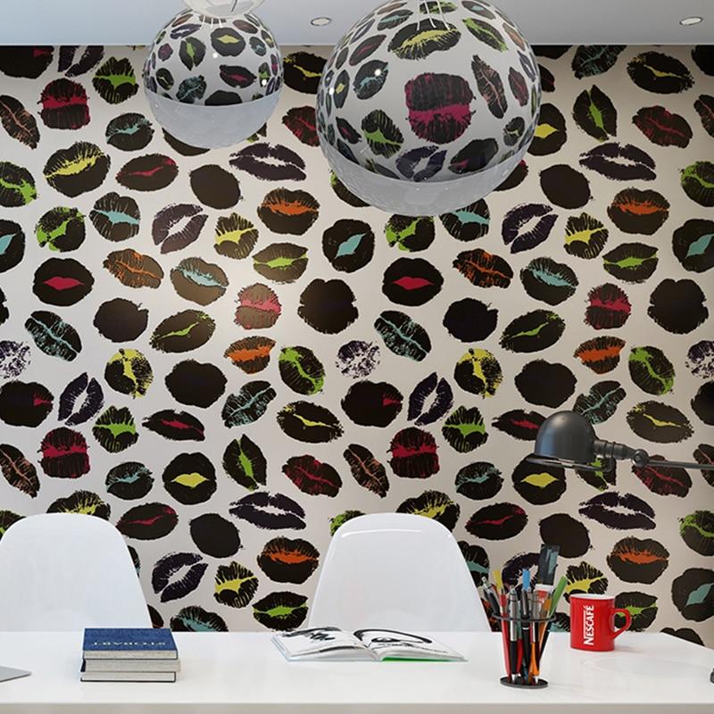 Sexy dame lèvre souris baiser vinyle 3D papier peint rouleaux pour salle de mariage 3d papier peint rouleau 3d revêtements muraux