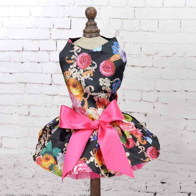 1PC Cute Pet Spring Summer Wedding Dress Small And Medium Dogs Princess Skirt Outfit Colorful Flowers Patterns