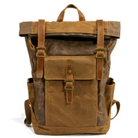 M207 Bagpack Vintage Canvas Leather Laptop Backpack Male College School Bookbag Men Out Door Travel Casual Daypacks Waterproof