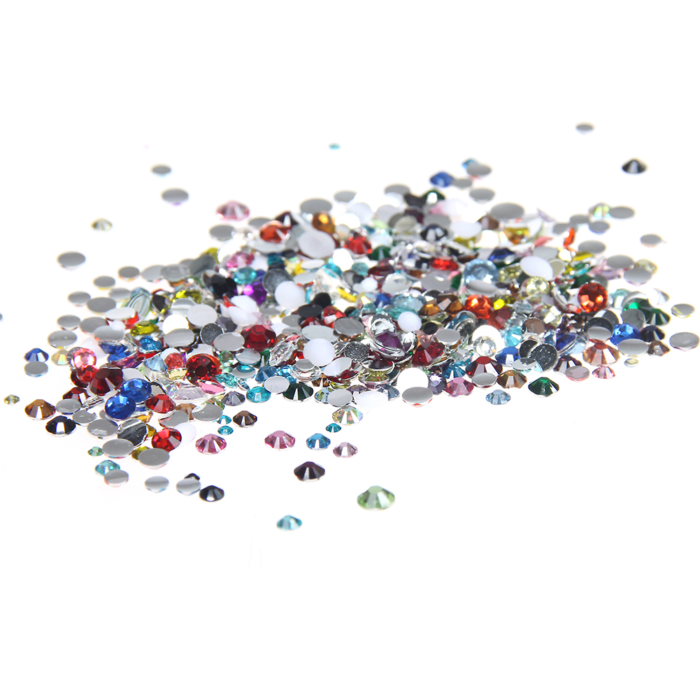 1000pcs 2-5mm And Mixed Sizes Mixed Colors Resin Rhinestones For Nails Non Hotfix Glitter Beauty 3D Nail Art Design Decorations 5 colors fish scale nail art sequins mermaid hexagon glitter rhinestones for nails for diy manicure nail art tips decorations