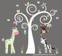 Safari Animals Nature Removable Wall Decals Girls Children Nursery Art 76 x 84