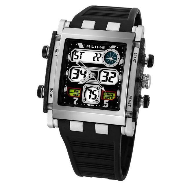 Top Fashion Alike Brand Waterproof Sport Men Steel Square Case Analog Digital Multi-Function Mens Electronic Quartz Watches