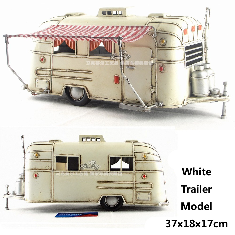Cute White Touring Car Camper Trailer Motorhome Model Money Bank Handmade Antique Metal Craft Home Office Bar Decoration Gift On Aliexpress