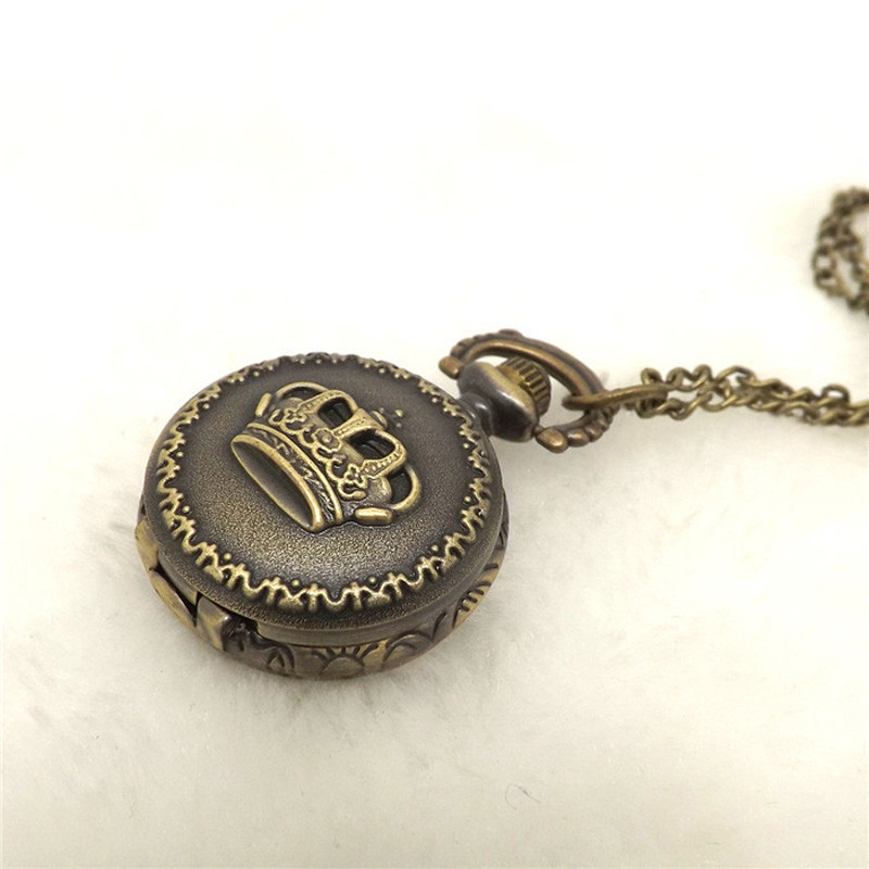 2017 Reloj  Hot Fashion Vintage Retro Bronze Quartz Pocket Watch Pendant Chain Necklace   Dece13 old antique bronze doctor who theme quartz pendant pocket watch with chain necklace free shipping