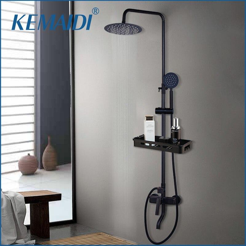 KEMAIDI Black Wall Mount Shower Set Faucet Rainfall shower Head with Handshower Shelf Bathroom ORB Shower