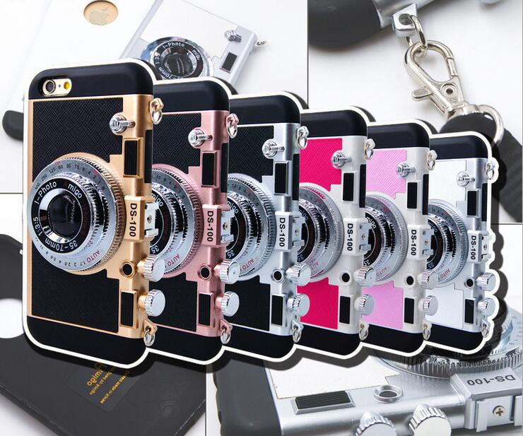 Korean Style Cool 3D Vintage Camera Neck Strap Phone Cases For Iphone X 6 6S 7 8 PLUS Case Soft Silicone With Mirror Back Cover
