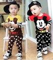 Primavera Conjunto de Roupas de bebê Crianças Terno Dos Esportes Menino Roupas Conjunto Agasalho Mickey Manga Longa T-Shirt + Calças Meninas do bebê Roupas