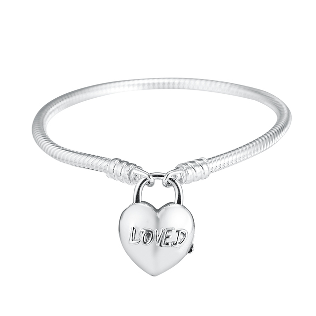 Original 925 Sterling Silver Charms Bracelets You Are Loved Heart Padlock Bracelets for Women DIY Charms Beads Jewelry Making