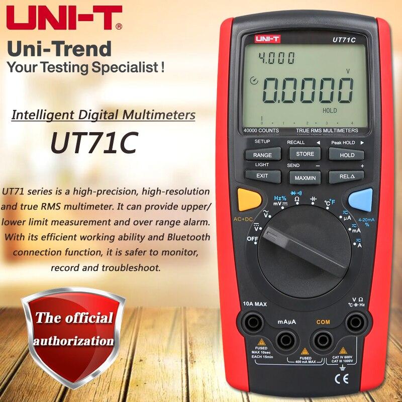 Multímetro Digital inteligente UT71C UNI-T multímetro de valores eficaces verdaderos USB/Bluetooth transmisión de datos Prueba de Temperatura de retroiluminación Dual