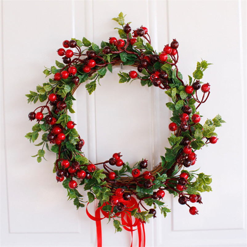 Us 19 46 41 Off Red Berry Christmas Wreath Artificial Flowers Wreaths Door Fake Garland For Diy Christmas Decoration Home Office Party Decor In