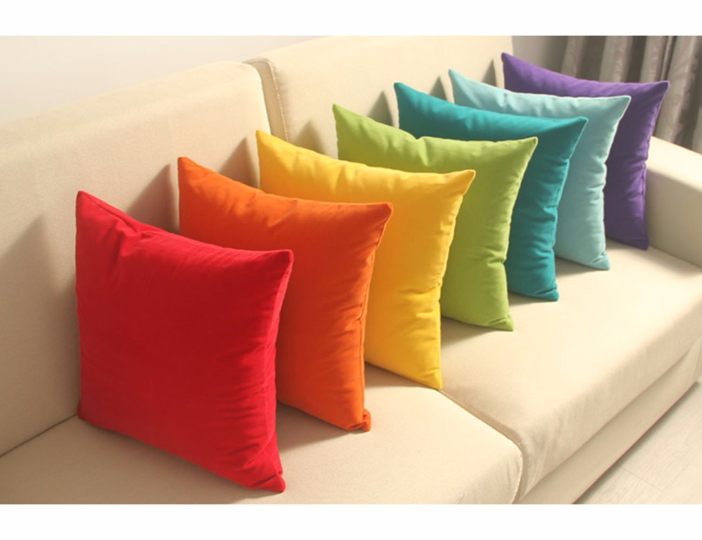 ESSIE HOME 12 colors available High-end solid color velvet cushion cover pillow case plush flannel rainbow candy