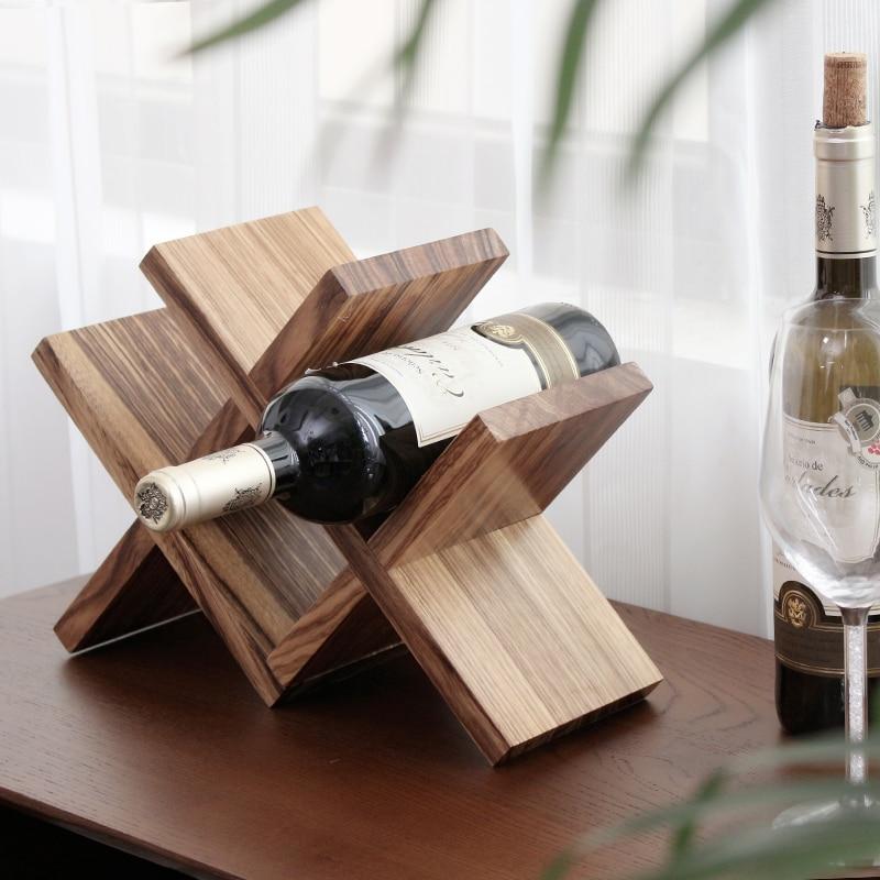 Nordic Lattice Wood Wine Storage Holder Decorative Wooden Bottle Rest Wine Rack Bar Accessories Ornament Handicraft