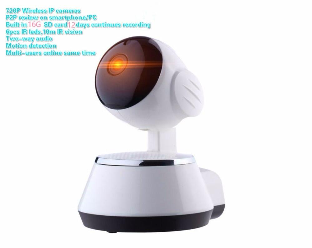 1.0MP wifi  IP cameras built  in  16G  SD  card  12days  recording  720P wireless  360 degree wide angle  home security  cameras легко пользоваться школа эз складочном np100 wifi sd кардридер специальный считыватель
