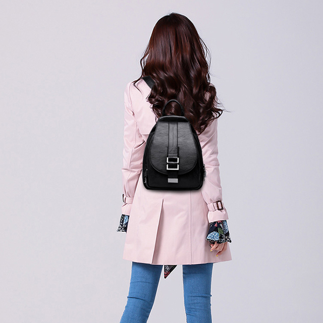 Vintage Styled Women's Leather Backpack