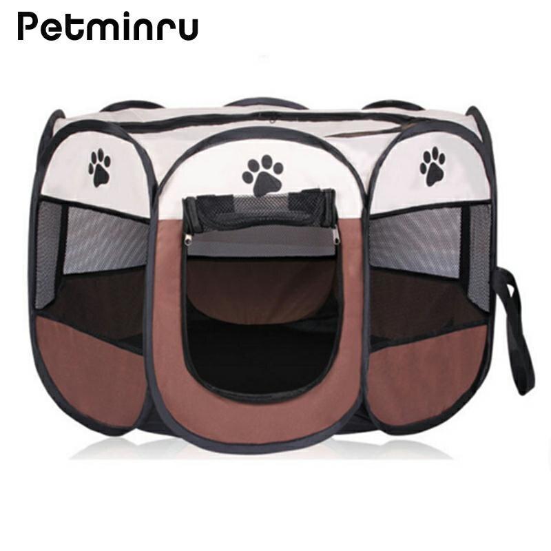Petminru Portable Pliant Chien Maison Pet tente Cage Chien Chat Tente Chiot Chenil Octogonale Clôture plein air fournitures Pour Animaux