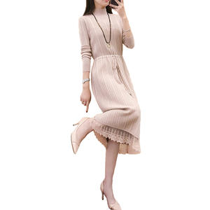 e82b168c73 Wmswjh Women Elegant Long Sleeve Sweater Dress Knitted warm