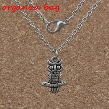 3pcs / lot Antique silver Cute owl Charm Pendant Necklaces 24 inches Chains Jewelry DIY  A-243d