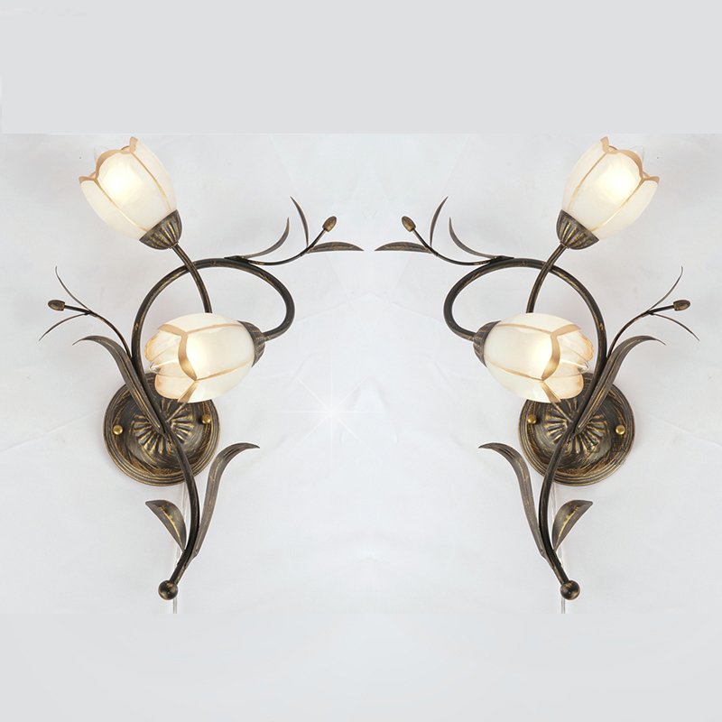 White Flowers Vintage Iron Wall lamps Living Room Decorative Wall Lamp Dining Room Wall Lights Bedroom Frosted Glass Wall Sconce|LED Indoor Wall Lamps| |  - title=