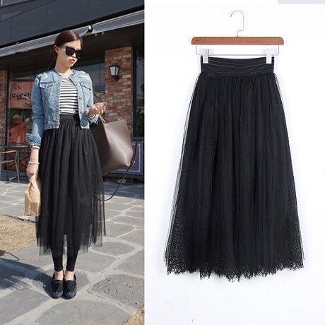 Aliexpress.com : Buy Adult Black Long Tulle Skirt High Elastic ...