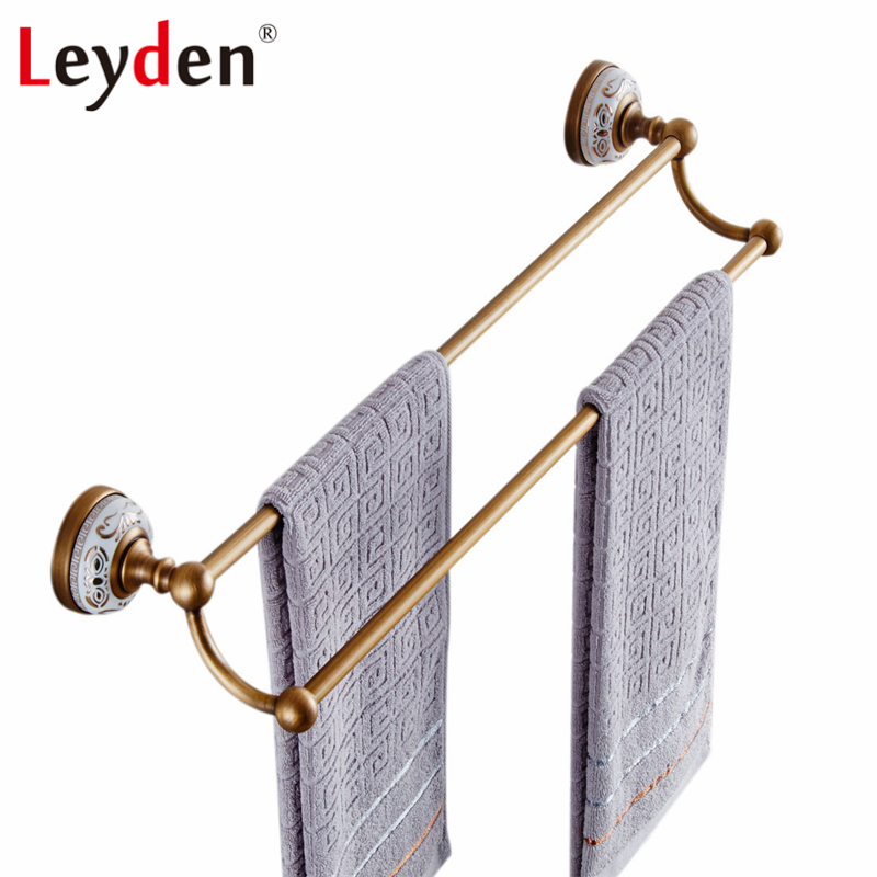 Leyden Antique Brass/ ORB Double Towel Bar Golden/ Black Wall Mount White Porcelain Copper Double Towel Rack Bathroom Accessory wall mount artistic double towel bar antique brass bathroom good quality dual bar towel holder