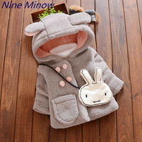 Autumn Winter Baby Girls Cartoon Cute Rabbit Ear Hooded Thick Warm Jacket Kids Outerwear Coat With