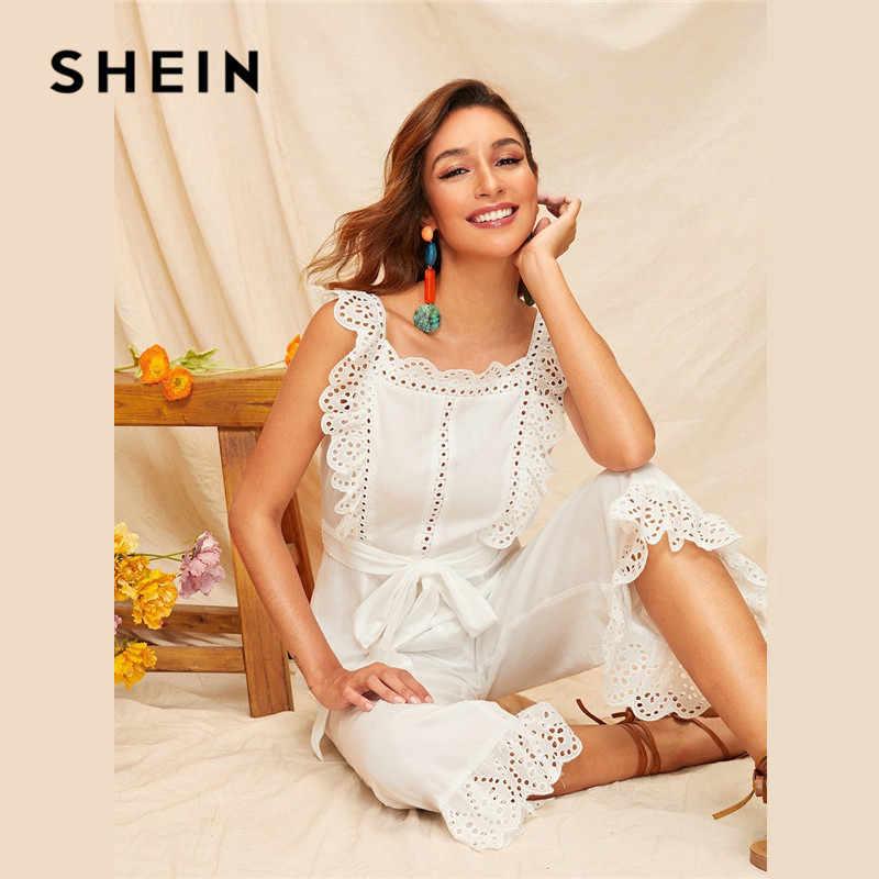 SHEIN, вышивка, ушко, гребешок, отделка, открытая спина, широкие, сексуальный комбинезон, женский летний без рукавов с квадратным вырезом, с поясом, белый комбинезон