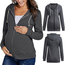 Maternity Women Hooded Jacket Womens Warm Clothes Long-sleeved Sweater Solid Color Pregnant Shirt Coats