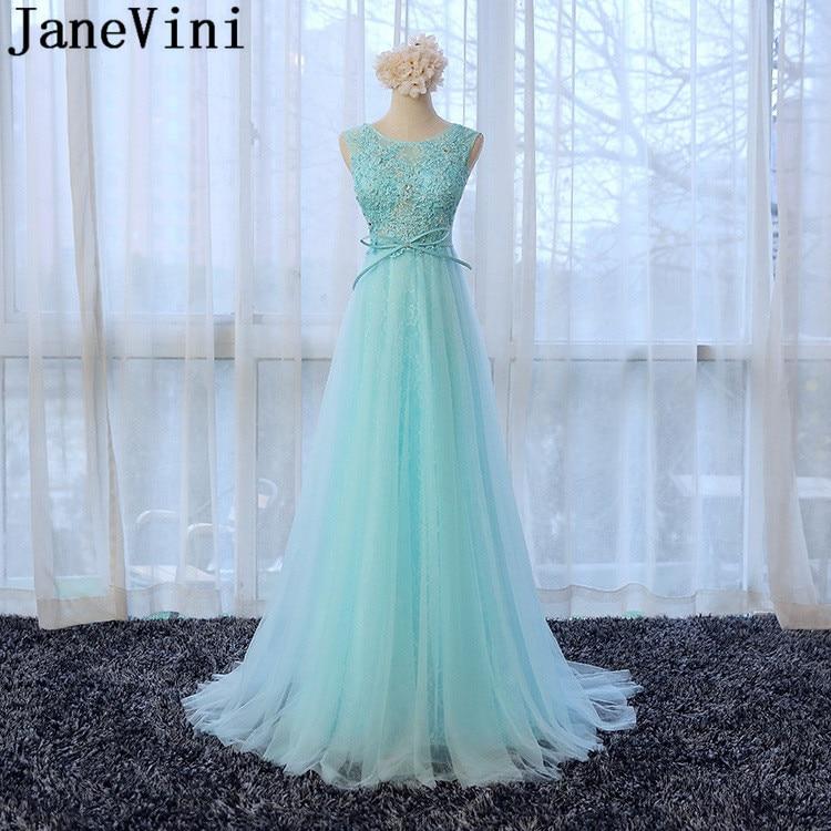 JaneVini élégant Tiffany dentelle Sequin robes de demoiselle d'honneur fille longues dames robes pour fête de mariage Tulle arabe perlé robe de bal