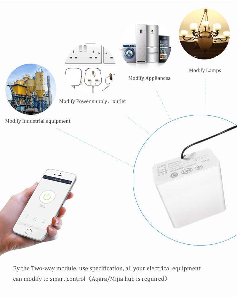 Xiaomi Mijia Aqara Eigenstone Iki-yönlü kontrol modülü Kablosuz Röle Kontrol 2 kanal Iş Için Mijia Ev Kiti