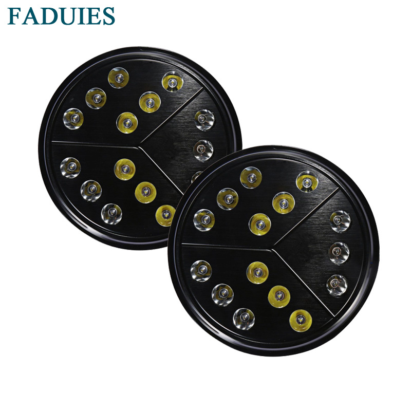 FADUIES 2psc 80W 7 inch Arrow Style Round LED Headlight High Low Beam For 97 17