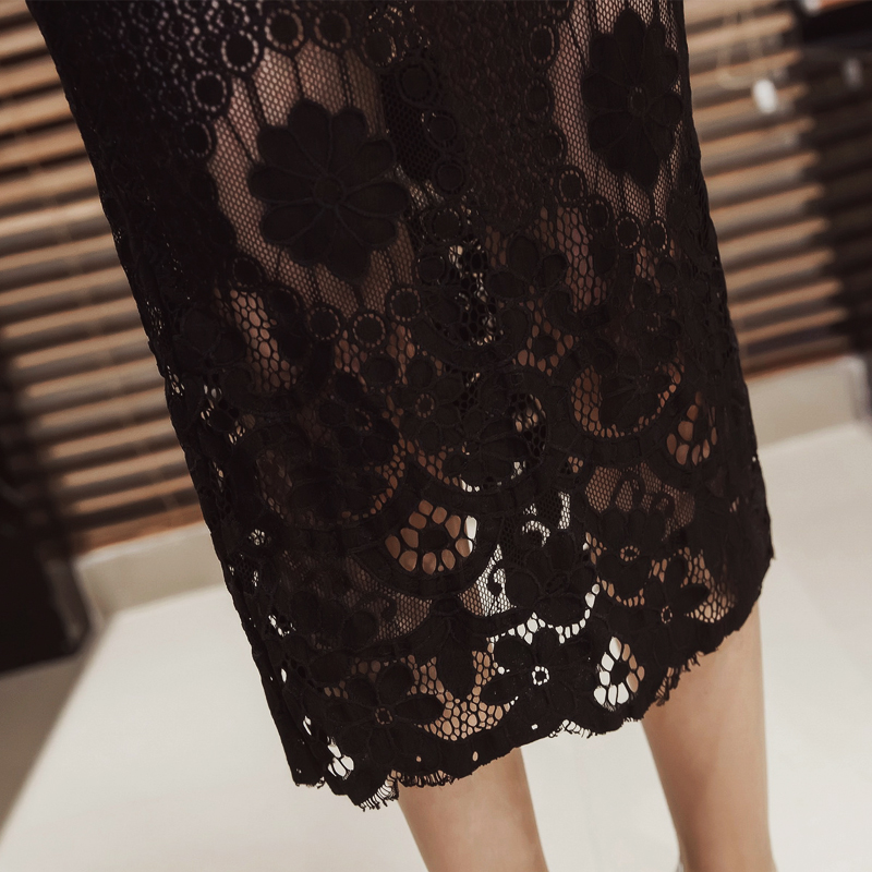 bff6b3acc5929 Aliexpress.com   Buy S 5XL Women Pencil Skirt Plus Size 2018 Fashion Mid  Calf Long Lace Patchwork Skirt Lady Stretch Elegant Back Open Split Skirt  from ...