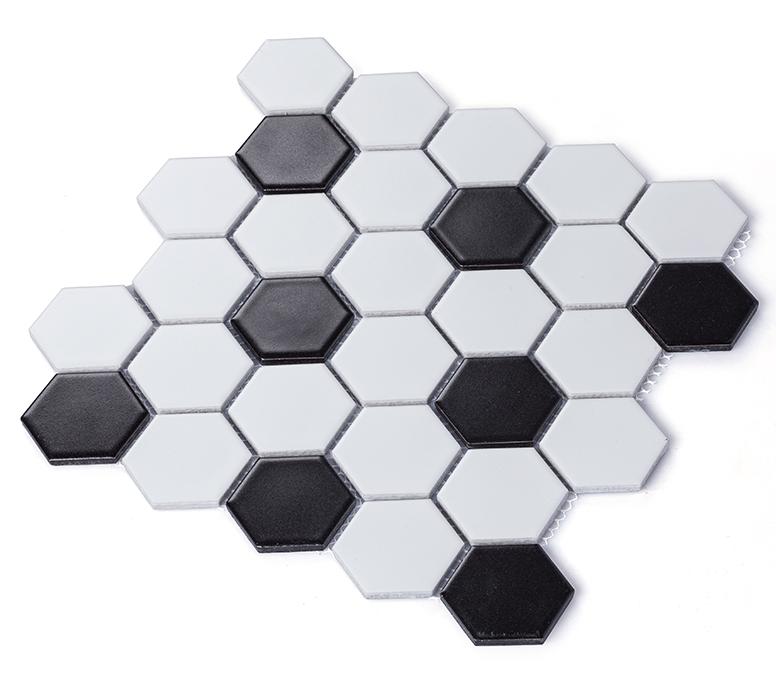 verfilzte black ans weien porzellan mosaik fliesen hexagon keramik mosaik bathroonkche backsplash - Mosaikfliesen Wei
