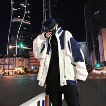 Casual Stand Collor Blue White Patchwork Loose Men Jacket 2018 Autumn Neutral Style Streertwear Male Windbreaker Homme M-2XL