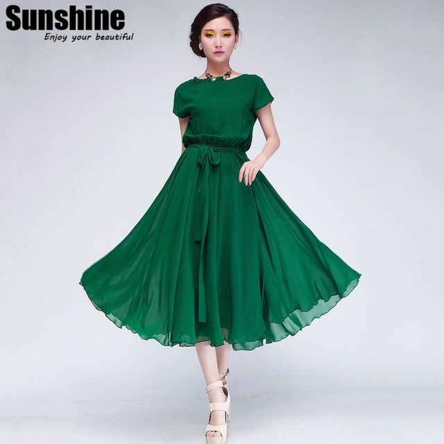 237f832573 Korean Style Women Pleated Maxi Chic Prom Party Dress Chiffon Women Clothing  Vintage Long Summer Casual Dress