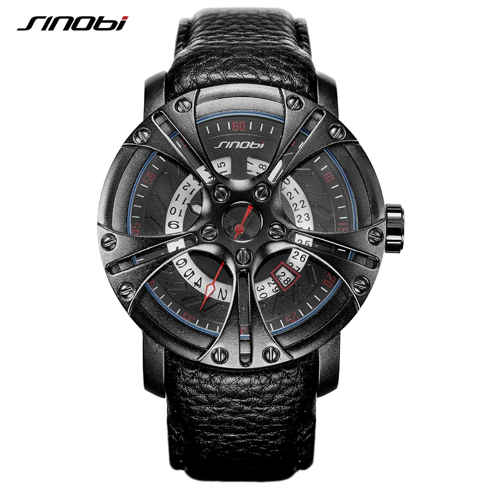 SINOBI Men Watch S Shock Military Watch for Man Eagle Claw Leather Strap Sport Quartz Watches Top Brand Luxury relogio masculino