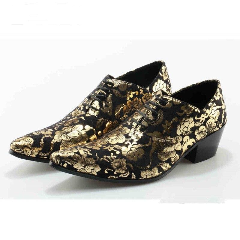 Décor Bas Fleur 5 4 De 1 Piste Talon Hommes 3 Style Mode Star Robe Occasionnels Or La Chaussures 2 Européenne Chaussure D'affaires A5XqCAw