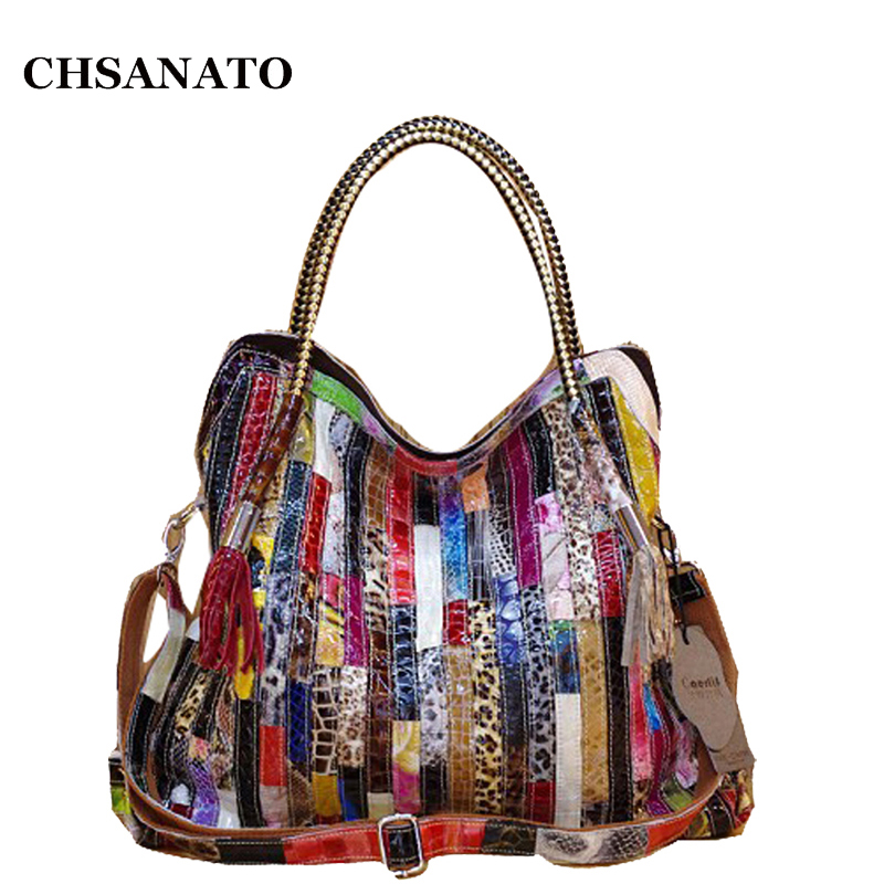 Real Cow Leather Bags For Women Brands Cowhide Paillette Genuine Leather Handbags Snake Messenger Bag Luxury