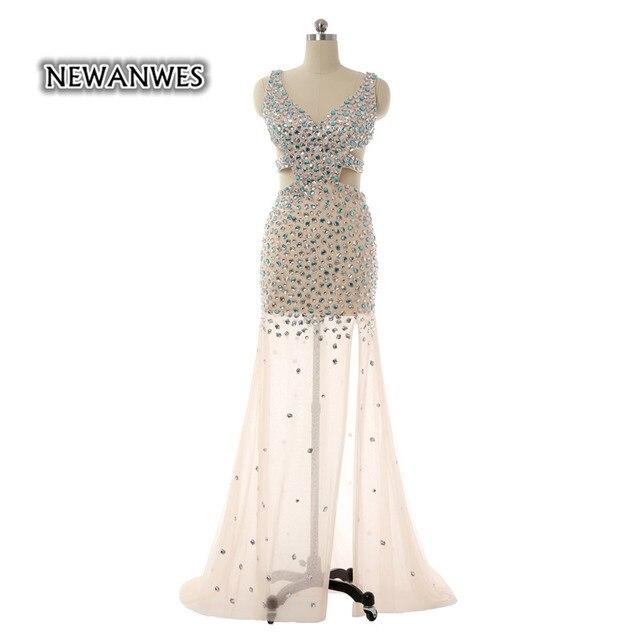 d0bc27e1ede Luxus Perlen Sparkly Sexy Rückenausschnitt Abendkleid Seitenschlitz Vestido  De Festa Longo 2017 Champagne Abendkleid