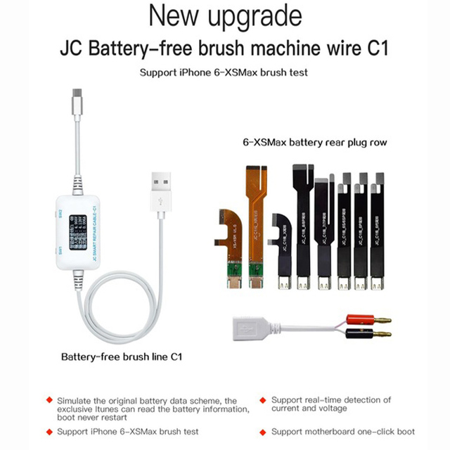 JC C1 Smart Repair Cable IP Current and Voltage Detector for IP 6 6s 7 8 8P X Motherboard Fault Charging Rooting Repair